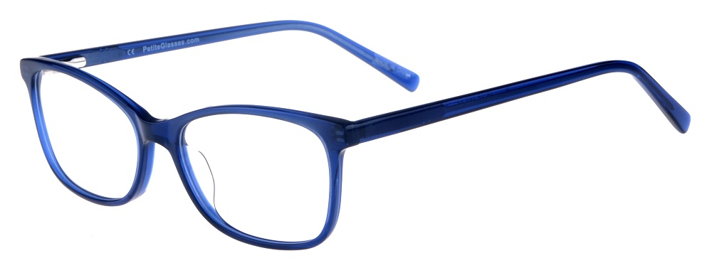 Kara Blue Rectangular Thin Plastic Size 48 Women's Petite Glasses For Small or Narrow Faces