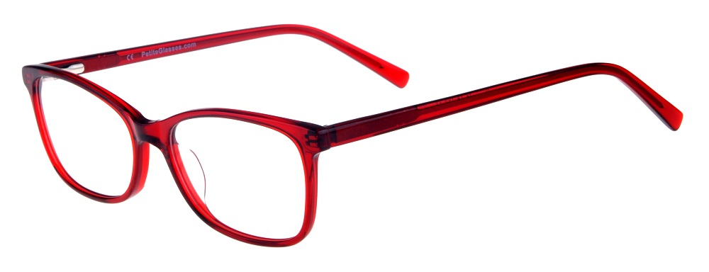 Kara Red Rectangular Thin Plastic Size 48 Women's Petite Glasses For Small or Narrow Faces