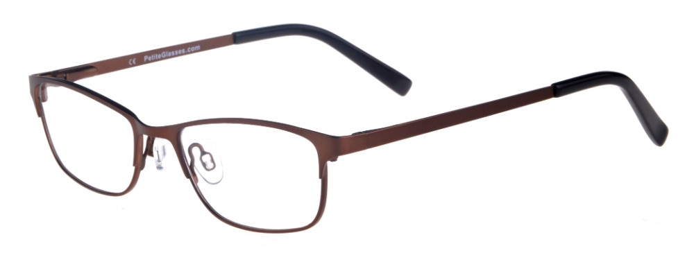Joelee Brown Rectangular Thin Metal Size 47 Women's Petite Glasses For Small or Narrow Faces