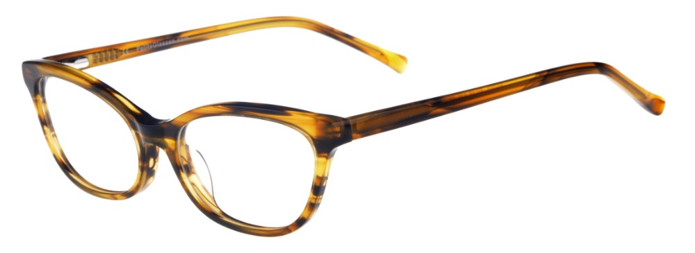 Phyllis Brown Stripe Thin Cat-Eyed Plastic Size 49 Women's Petite Glasses For Small or Narrow Faces-2