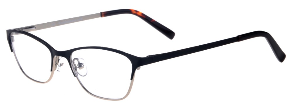 Teresa Black and Silver Thin Cat-Eyed Plastic Size 49 Women's Petite Glasses For Small or Narrow Faces