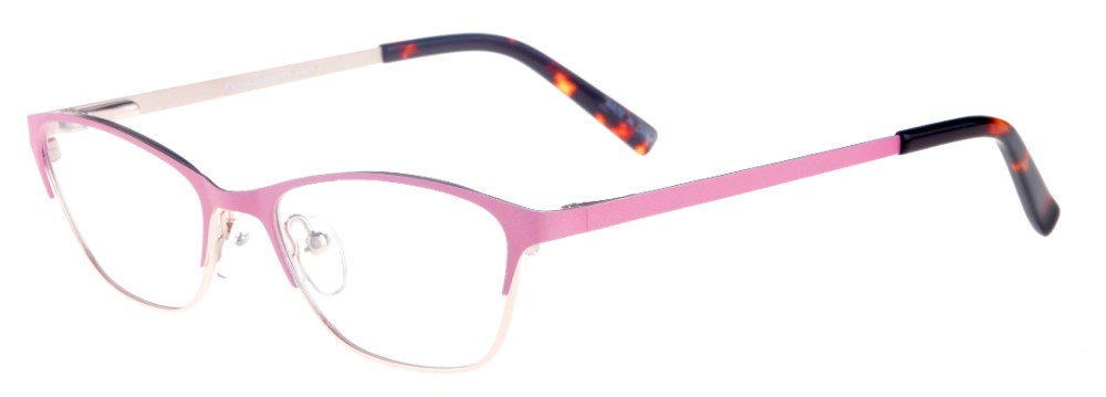 Teresa Pink and Gold Thin Cat-Eyed Plastic Size 49 Women's Petite Glasses For Small or Narrow Faces-2