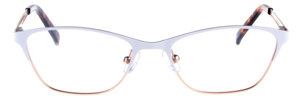 Teresa White and Gold Thin Cat-Eyed Plastic Size 49 Women's Petite Glasses For Small or Narrow Faces