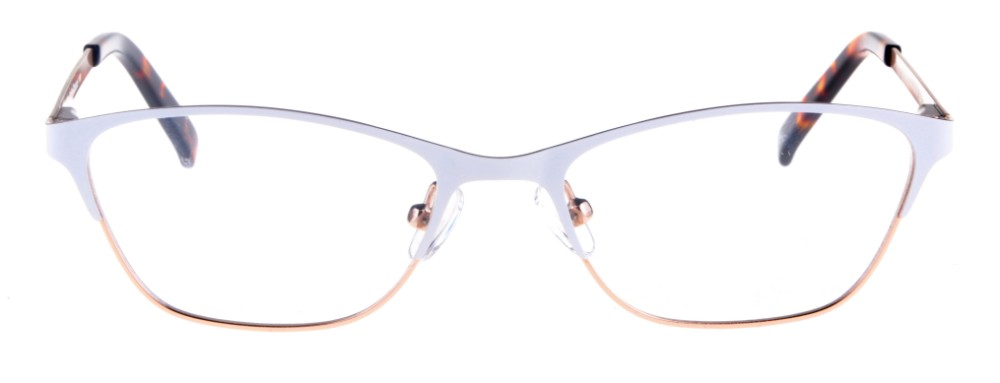 6f86a7e4695bf Teresa White and Gold Thin Cat-Eyed Plastic Size 49 Women s Petite Glasses  For Small